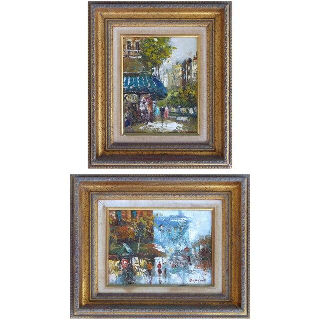 Midcentury Modern Paris Street Scene Oil Paintings- a Pair For Sale - Image 13 of 13
