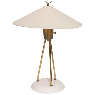 Brass and Enameled Metal Tripod Lamp by Lightolier For Sale