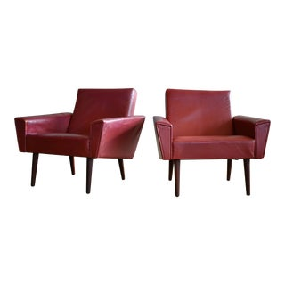 Pair of Danish Midcentury Lounge or Club Chairs Attributed to Illum Wikkelso For Sale