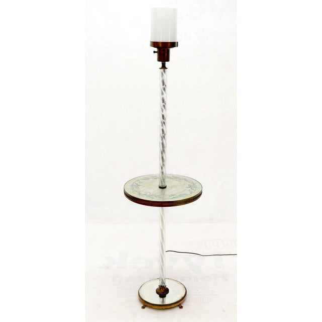 Art Deco Twisted Glass Pole Reversed Painting Table Art Deco Floor Lamp For Sale - Image 3 of 11
