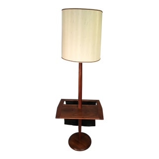 Laurel Lamp Co. Walnut Floor Lamp with Table & Magazine Rack For Sale