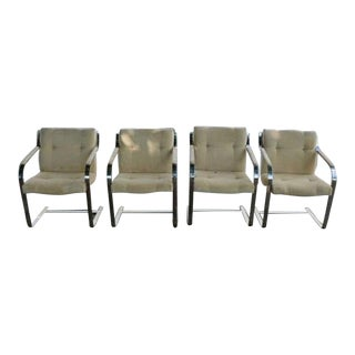 1970's Mid-Century Modern Brueton Heavy Thick Chromed Steel Arm Chairs - Set of 4