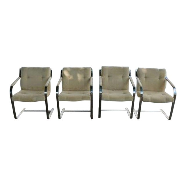 1970's Mid-Century Modern Brueton Heavy Thick Chromed Steel Arm Chairs - Set of 4 For Sale