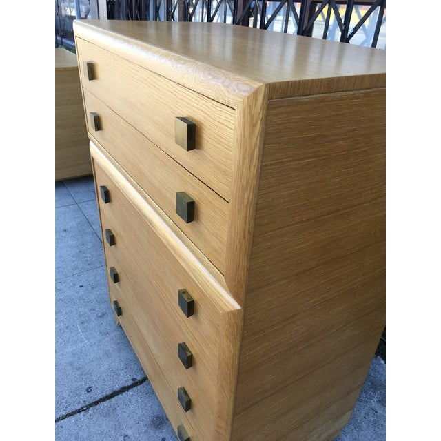 1940s Art Deco Oak Highboy Chest of Drawers For Sale - Image 12 of 13