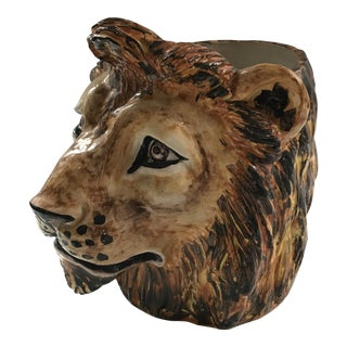 Vintage Lion Head Planter - Italy For Sale