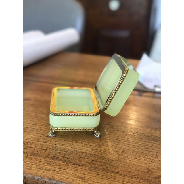 Mid 19th Century Yellow-Green Opaline Glass Box With Brass Trim and Feet For Sale - Image 5 of 9