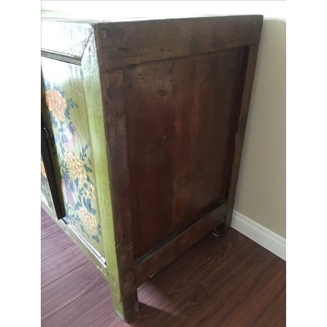 Antique Floral Painted Sideboard Cabinet - Image 4 of 7