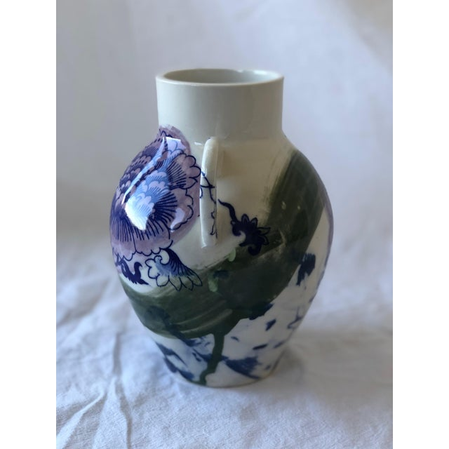 Contemporary Ceramic Chrysanthemum Vase With Handles For Sale - Image 4 of 6