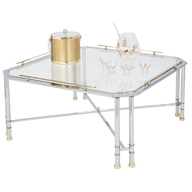 Hollywood Regency Chrome Brass & Glass Coffee Table For Sale - Image 3 of 10