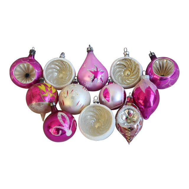 Pretty Vintage Pastel Christmas Tree Ornaments W/Box - Set of 12 For Sale