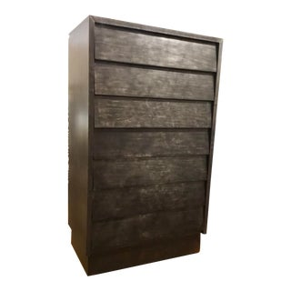 Industrial Modern Iron Clad Tall Chest of Drawers For Sale