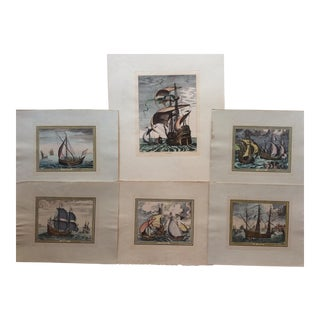 Bruegel 18th Century French Hand Colored Engraving Prints - Set of 6