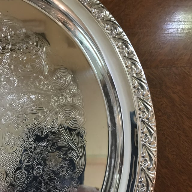 Silver Vintage WM Rogers Silver-Plate Round Tray For Sale - Image 8 of 13