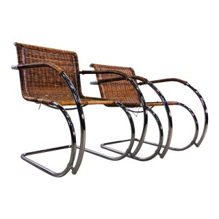 Vintage Ludwig Mies Van Der Rohe Chrome & Wicker His & Her Chairs For Sale