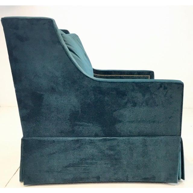 Gabby Helena Blue Velvet Modern Swivel Club Chair For Sale - Image 4 of 6