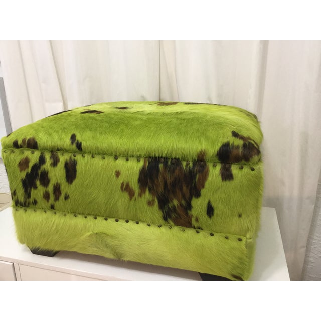 Contemporary Lime Green Cowhide Ottoman For Sale - Image 3 of 7