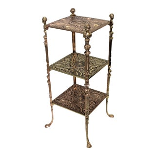 Edwardian 3-Tiered Side Table Aesthetic Movement Polished Brass and Copper For Sale