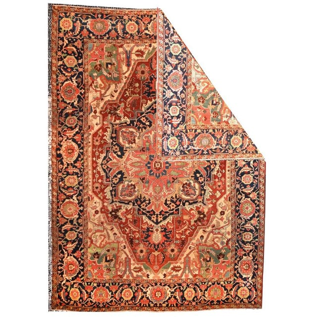 Extremley Fine Antique Persian Rug Serapi, Hand Knotted, Circa 1890