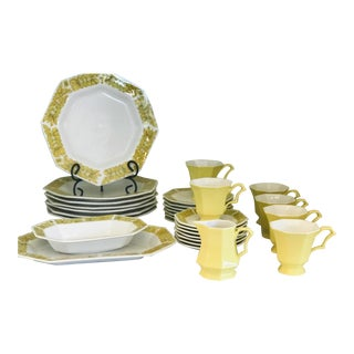 """Mid Century Independence Ironstone """"Yellow Bouquet"""" Dinnerware- 31 Pieces For Sale"""