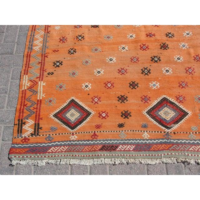 "Orange Vintage Turkish Kilim Rug - 5'11"" X 8'6"" For Sale - Image 8 of 11"