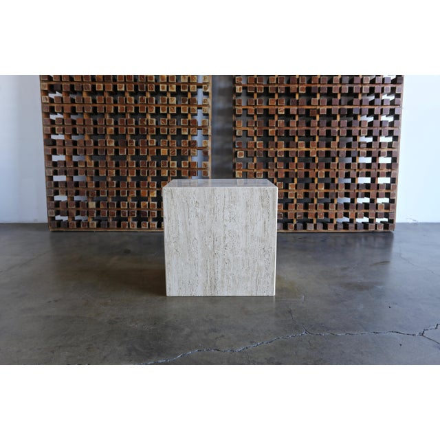 Travertine Pedestal or Side Table, Circa 1975 For Sale - Image 10 of 12
