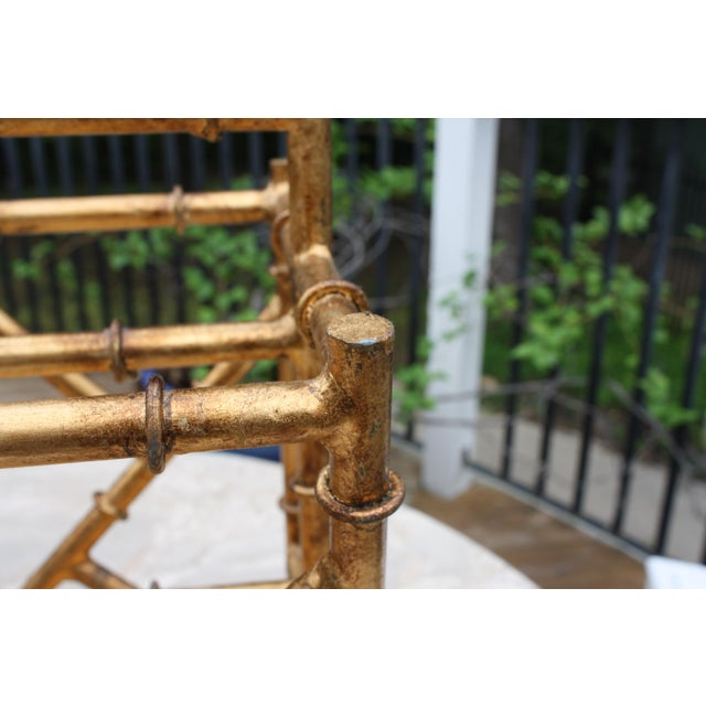 Gold Gilt Faux Bamboo Chinoiserie Style Magazine Rack For Sale - Image 8 of 11