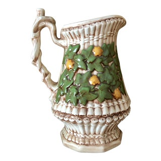 Floral Twig & Vine Ceramic Majolica Glazed Pitcher For Sale