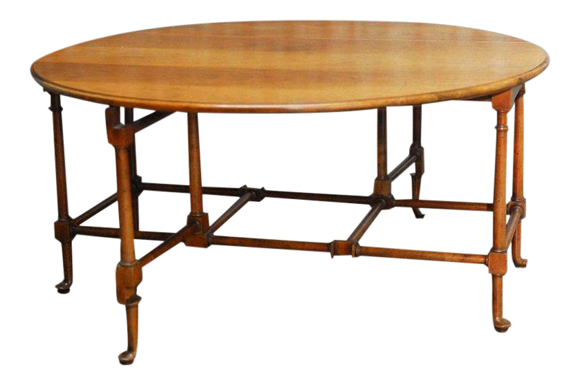 Queen Anne Style Mahogany Drop Leaf Coffee Table By Baker For Sale
