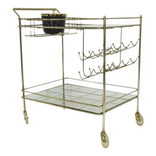 Vintage Mid Century Modern Metal Brass Atomic Age Rolling Serving Bar Tea Cart