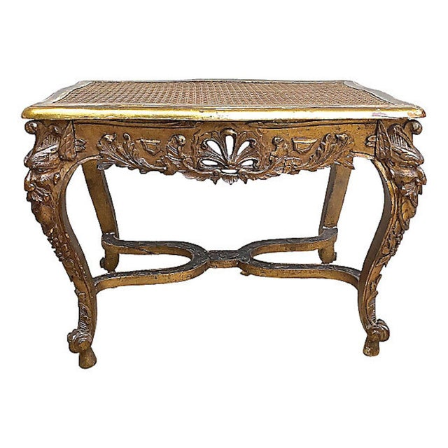 French 19th Century Antique French Caned & Carved Gilt Bench For Sale - Image 3 of 9
