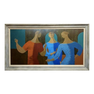 1960s Figurative Flavio Cabral Oil Painting - 3 Female Figures For Sale