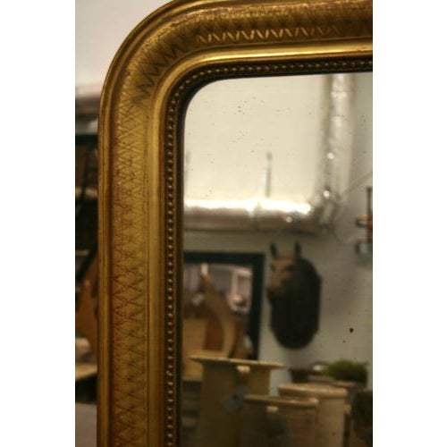 Beautiful French Mirror with Inset Beaded Molding and Diamond Design *Please remember: The majority of our items are...