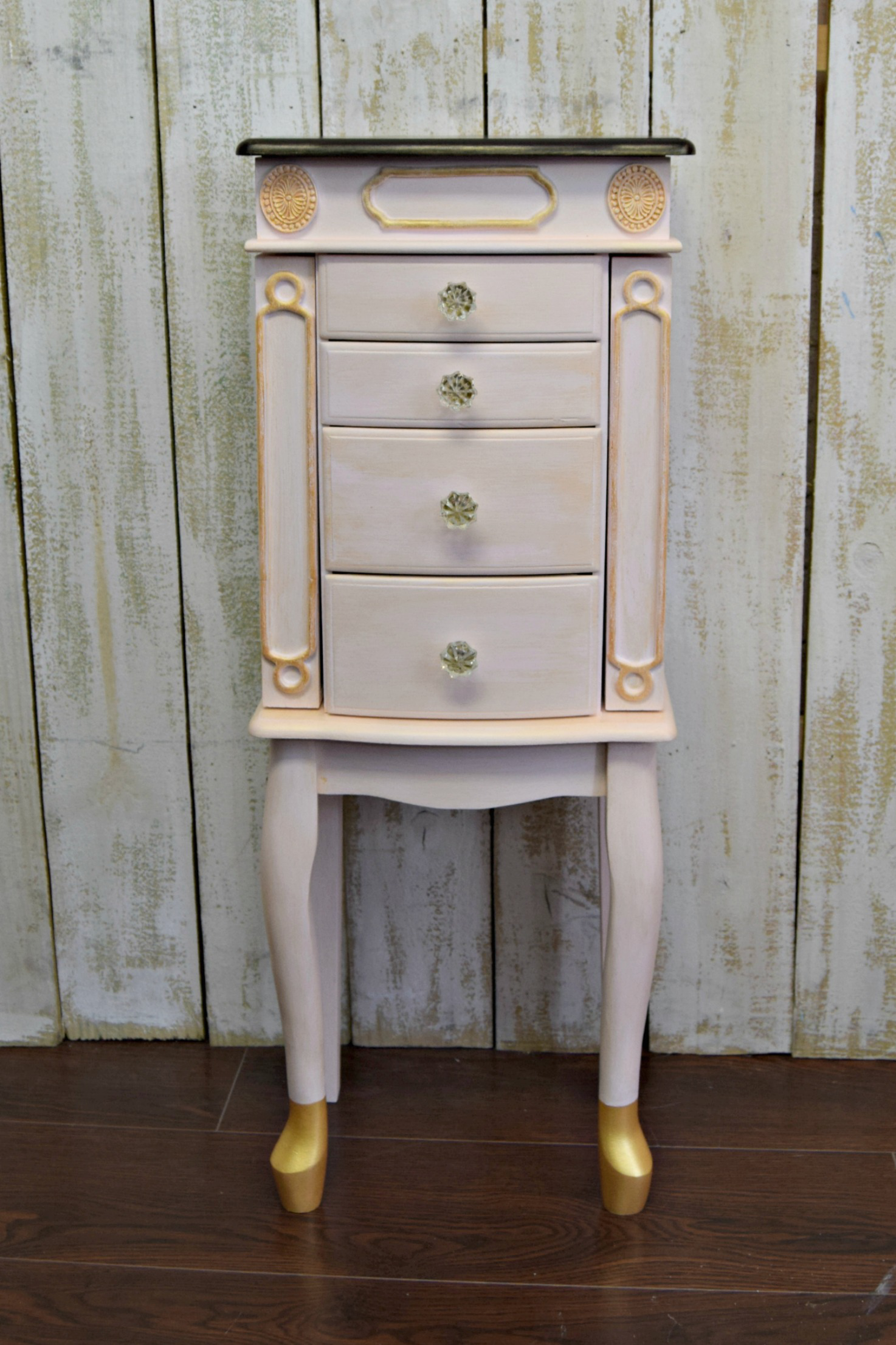S Shabby Chic Pink Painted Jewelry Armoire For Sale Image