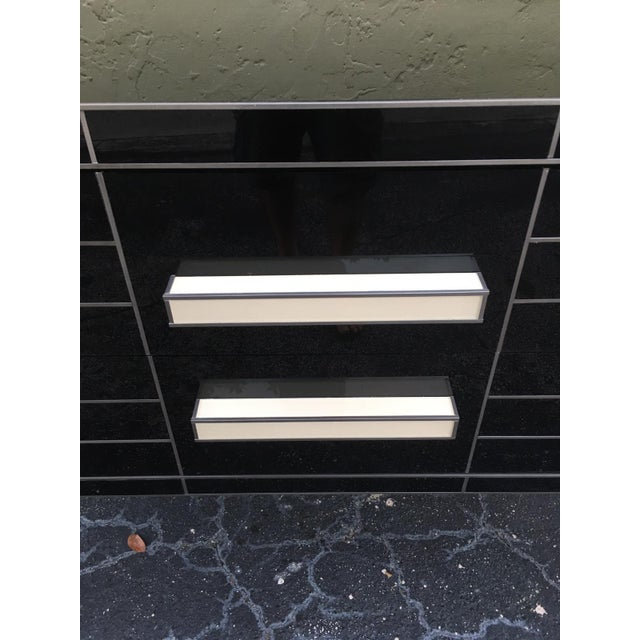 2010s New Chest of Drawers in Black Mirror and Aluminium With White Glass Handle For Sale - Image 5 of 11