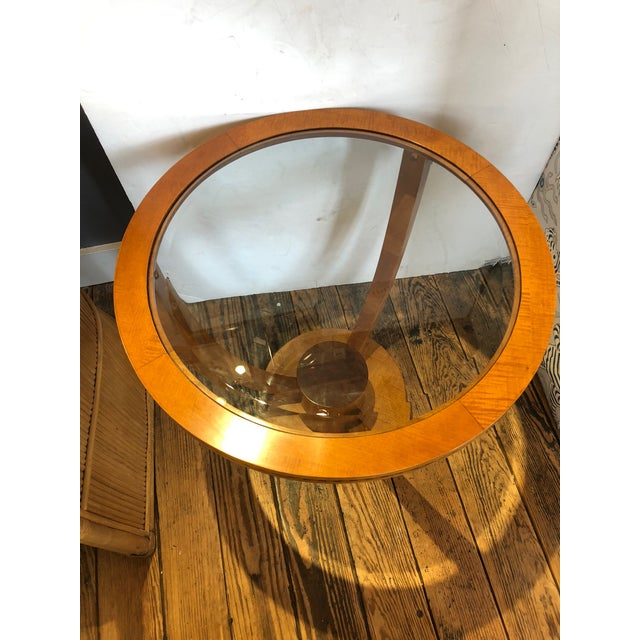 Art Deco Art Deco Wood and Bevelled Glass Round End Table For Sale - Image 3 of 7