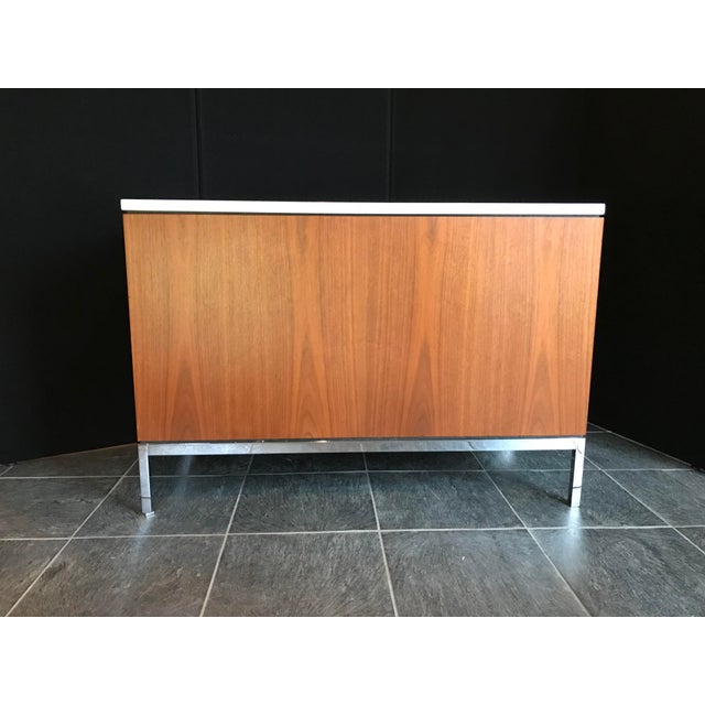 Knoll Florence Knoll Walnut Credenza With Calacatta Marble Top and Finished Back For Sale - Image 4 of 8