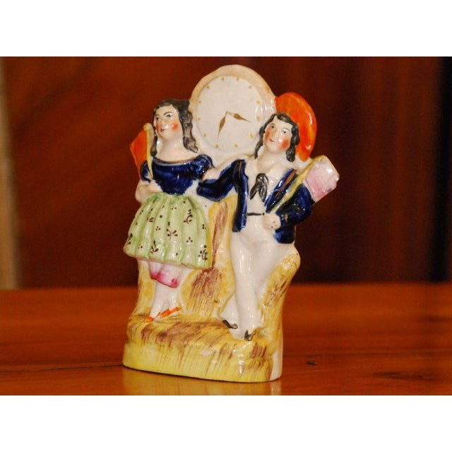 Vintage English Staffordshire Couple With Clock