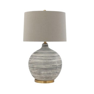 Ceramic Textured Table Lamp With Natural Linen Shade For Sale