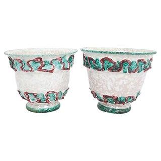 Mid-Century Italian Pottery Cachepots, Pr For Sale