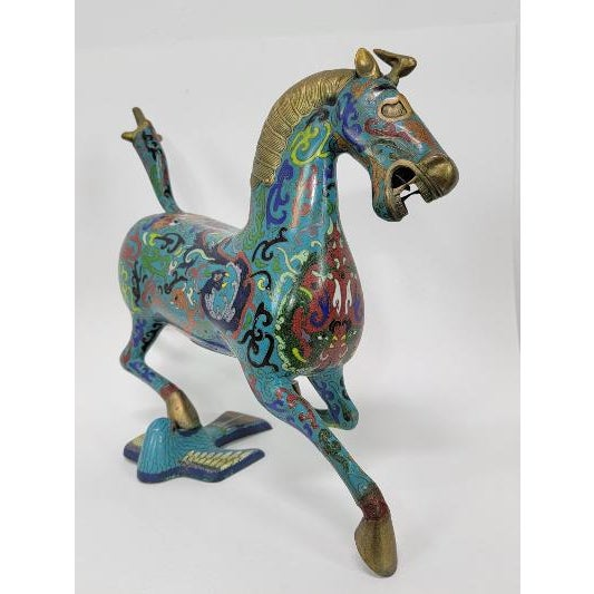 Turquoise Chinese Cloisonne Enamel Gilt Success Horse Statue For Sale - Image 8 of 10