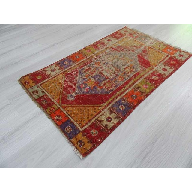 """Vintage Distressed Colorful Small Turkish Rug - 28"""" X 48"""" For Sale - Image 5 of 6"""