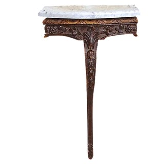 Antique Wood & Marble Console Table For Sale