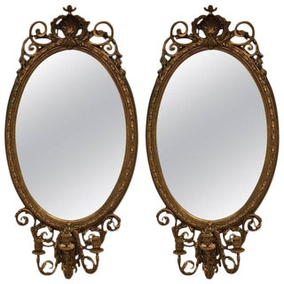 Large Antique Oval Gilt Girondole Mirrors - a Pair For Sale