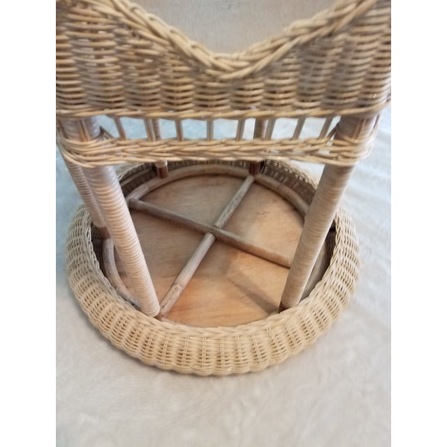 Vintage Asian Handcrafted Woven Rattan/Wicker Accent Table For Sale - Image 4 of 7
