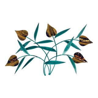 Brass and Steel Wall Sculpture, Artist Signed For Sale