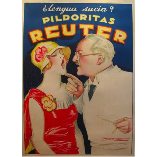 1930 Art Deco Reuter - Achilles Mauzan Poster For Sale