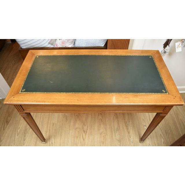 Mid 20th Century Louis XVI Style Green Leather Top Writing Desk For Sale - Image 5 of 13
