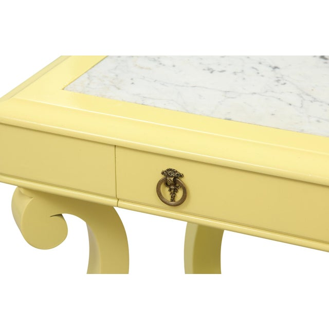 Neoclassical Style Yellow Marble Top Hall Table - Image 8 of 10