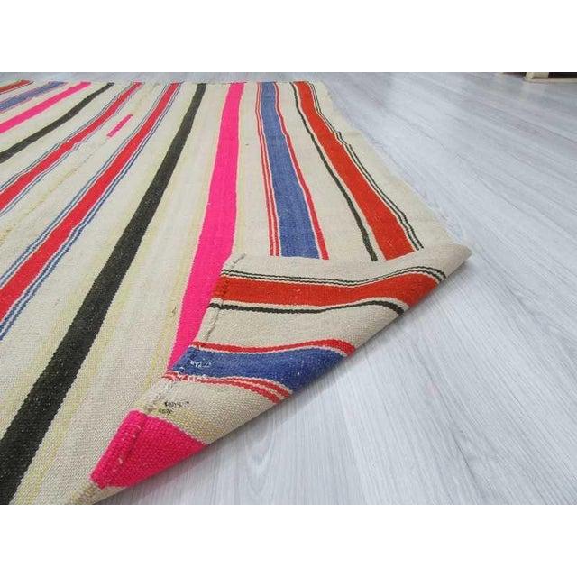 Vintage Colorful Striped Turkish Kilim Rug - 5′4″ × 7′8″ - Image 6 of 6