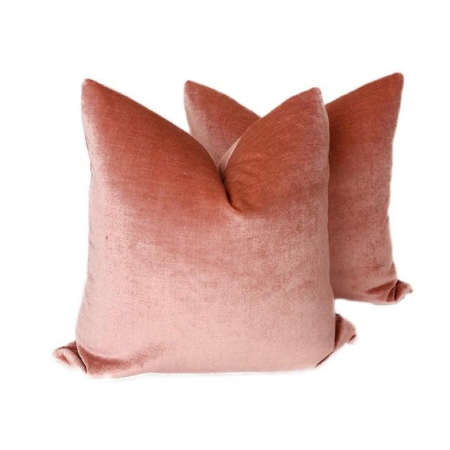 Vintage Rose Linen Velvet Pillows - a Pair For Sale - Image 4 of 4